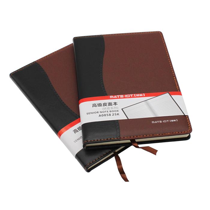 欧标(MATE-1ST)A0858 拼皮皮面本 黑棕 25K 内页100页道林纸