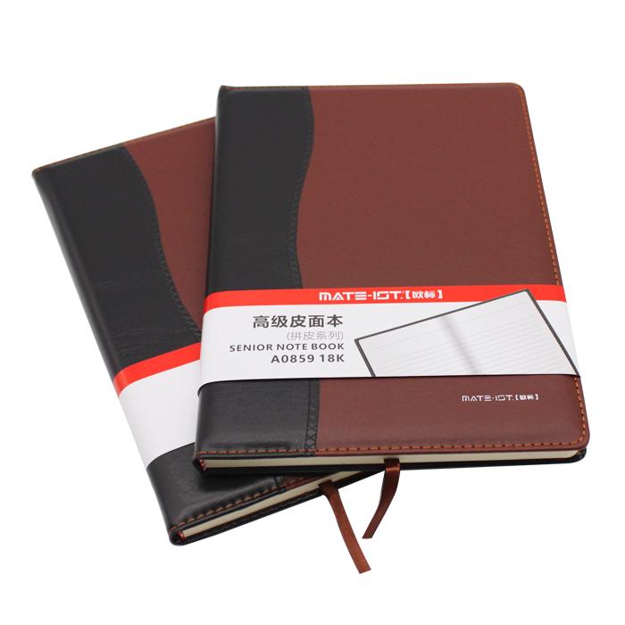 欧标(MATE-1ST)A0859 拼皮皮面本 黑棕 18K 内页100页道林纸