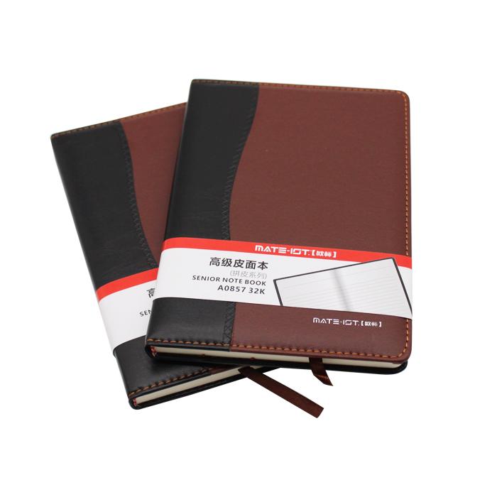 MATE-1ST/欧标 A0857 拼皮皮面本  黑棕 32K 内页100页道林纸
